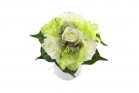Bouquet de rose / hortensia cream green
