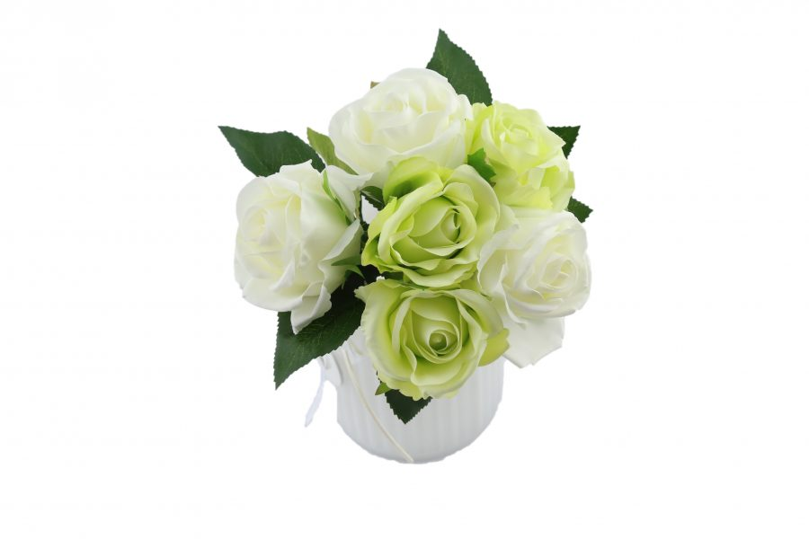 Bouquet de rose white green